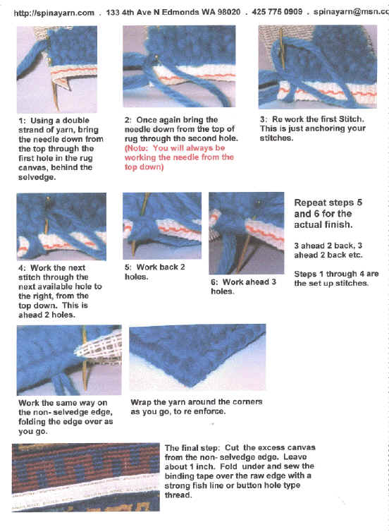 Instructions For Binding Rugs. Click To Enlarge